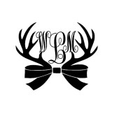 bow and antlers monogram decal