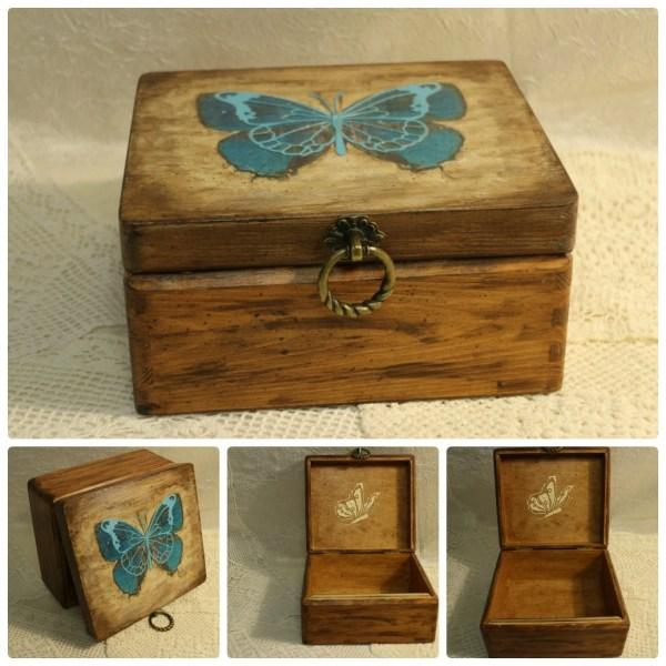 Butterfly Box Jewelry Wood Decoupage