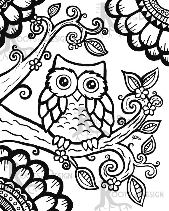 INSTANT DOWNLOAD Coloring Page Cute Owl zentangle by