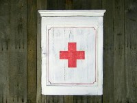 Vintage Industrial Inspired Medicine Cabinet, White, Red ...