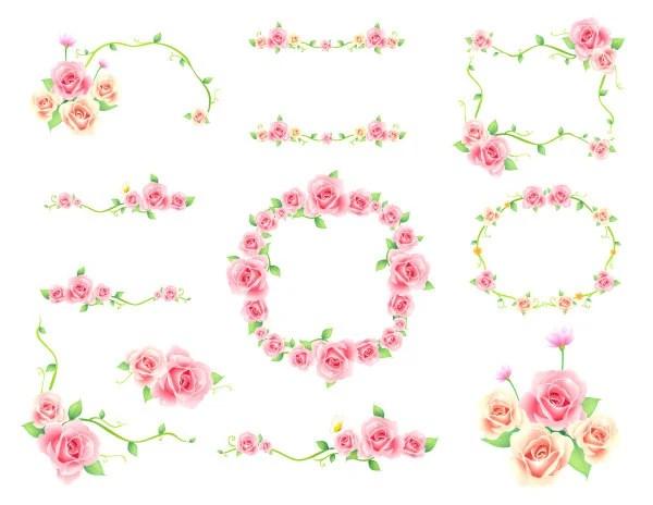Digitale Rahmen Clipart rosa Blumenrahmen Clip Art Pink Floral