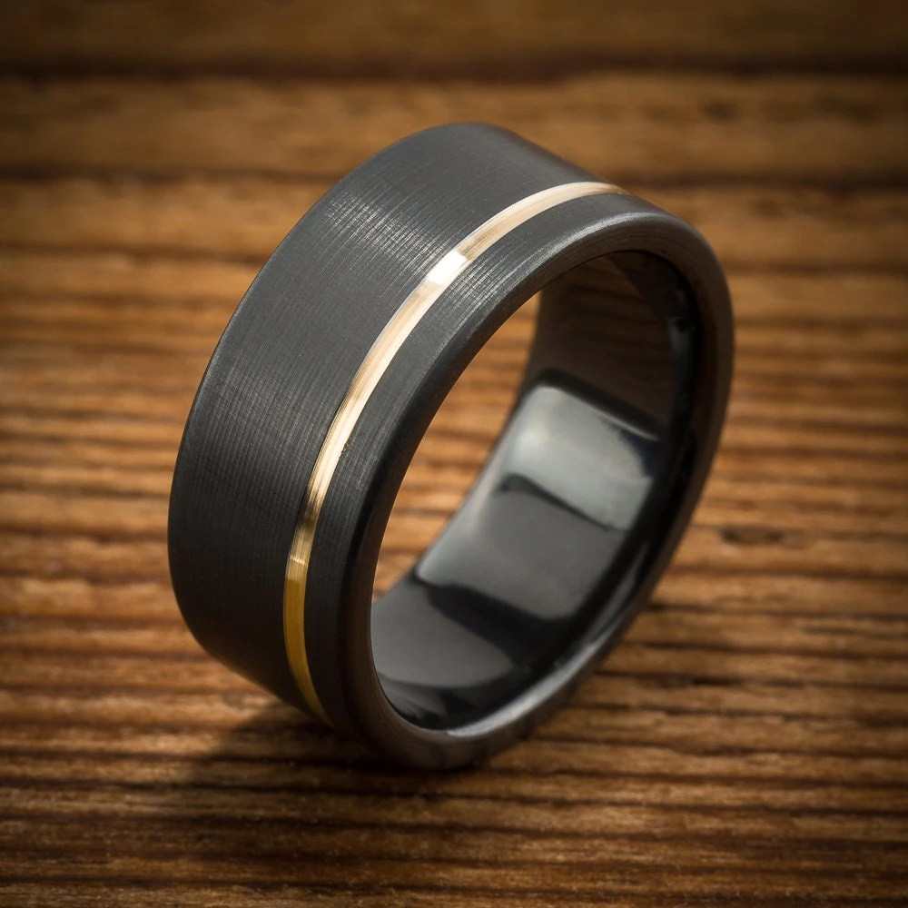Mens Wedding Band Comfort Fit Interior Black Zirconium