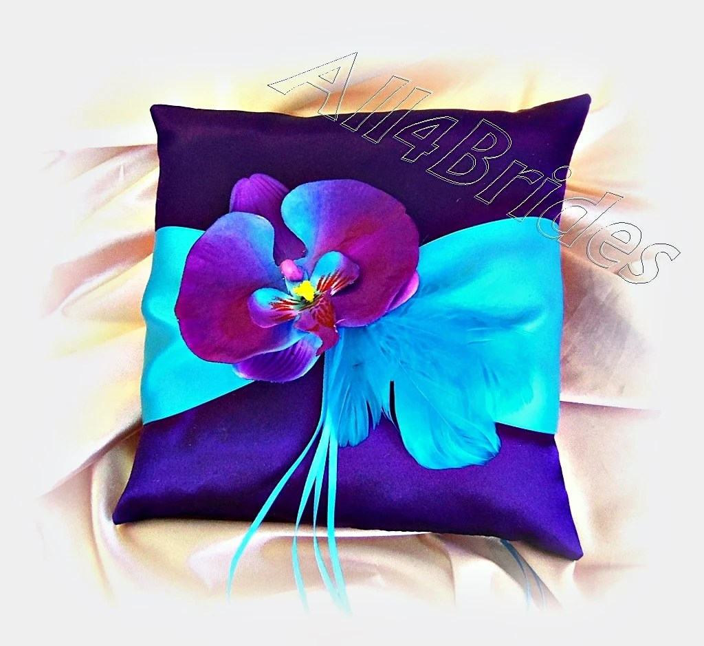 Purple and turquoise wedding ring bearer pillow purple and