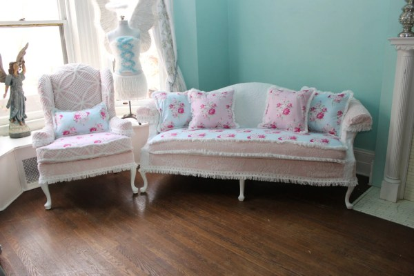 2 Pc Shabby Chic Slipcovered Sofa Couch
