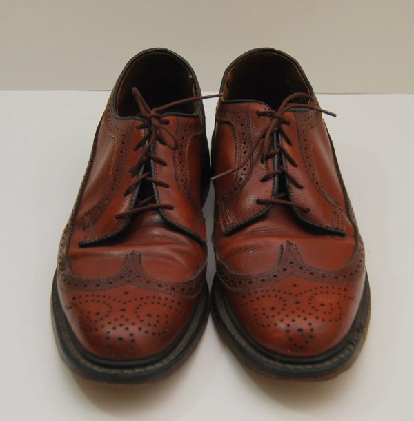 Mens 1970s Jcpenney Brown Leather Wingtop Oxford Shoes