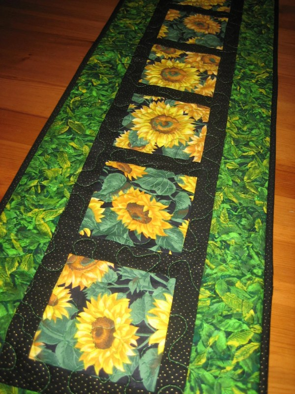 Quilted Table Runner Yellow Sunflowers Green Leaves Handmade