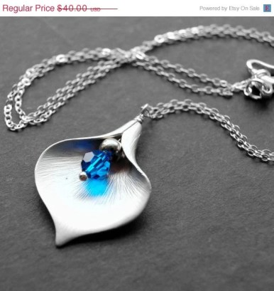 15% Off Blue Calla Lily Pendant, Silver Calla Lily Flower Charm Necklace, Blue Swarovski Crystal