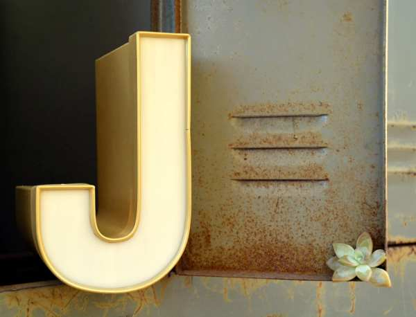 Vintage Marquee Sign Letter Capital 'J': Large Gold & White Wall Hanging Initial -- Industrial ...