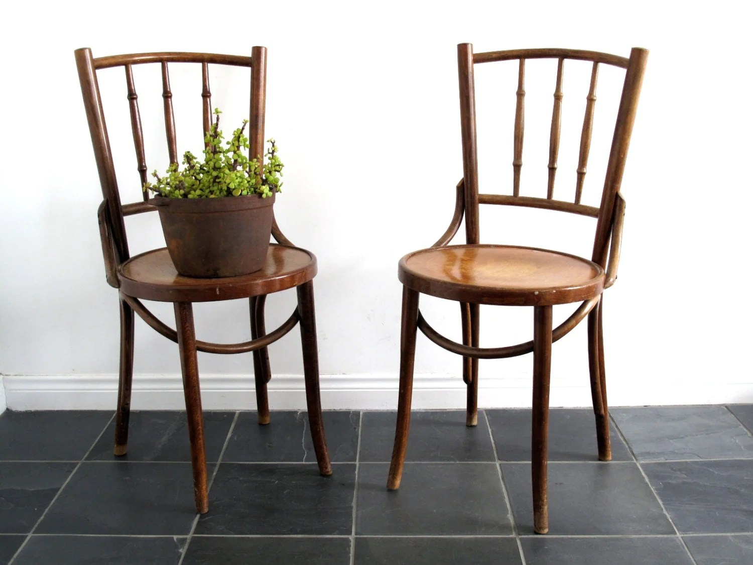 vintage bentwood chairs used high for babies chair two wooden cafe bistro by