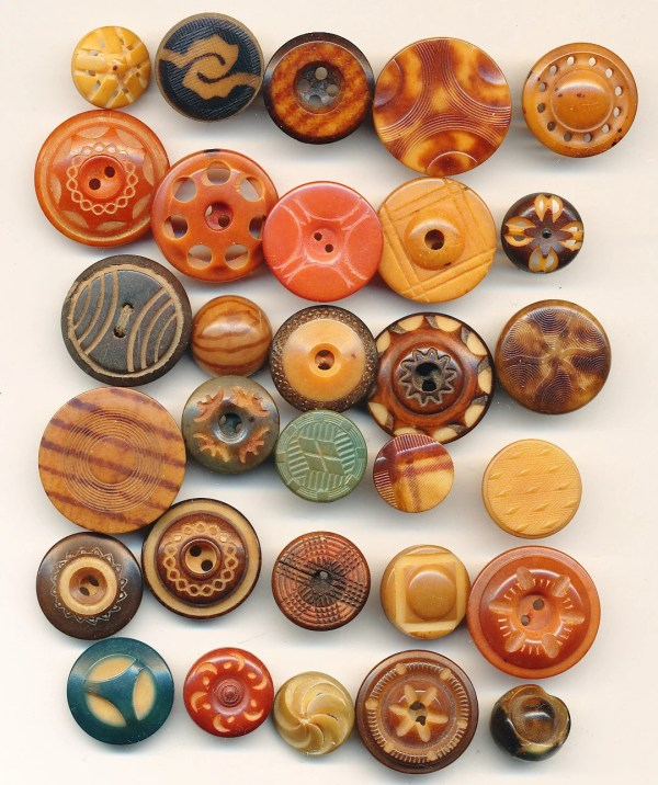 Antique Vintage Tagua Nut Buttons 30 Carved Dyed