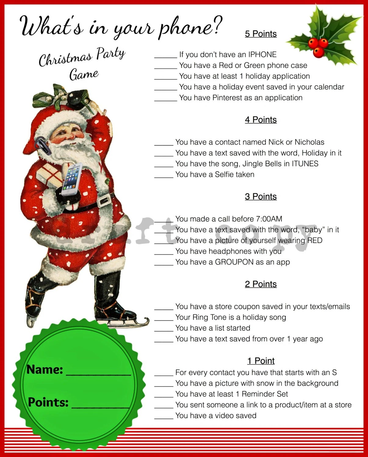 Christmas Game Whats In Your PhoneInstant Download