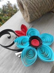 red & turquoise flower hair piece