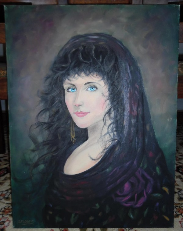 Beautiful Oil Canvas Gypsy Woman Portrait Painting Art