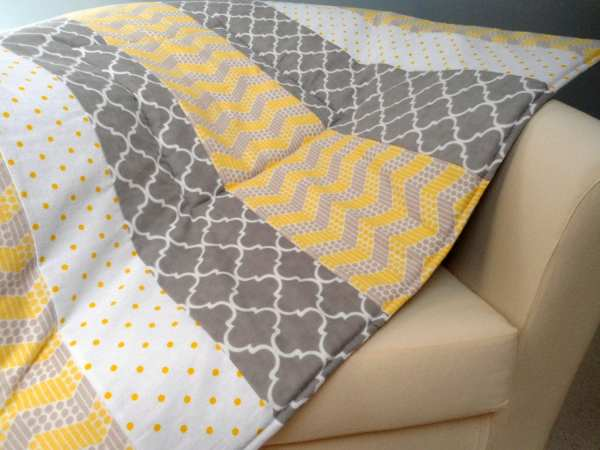 Baby Playmat Padded Floor Mat Tummy Time Yellow Gray