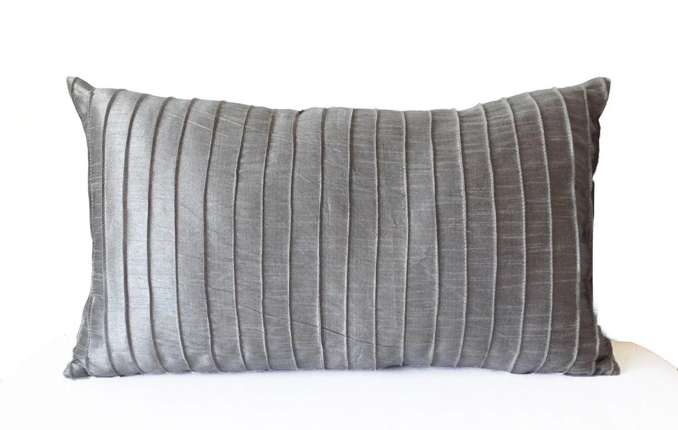 Grey Silk Pleated Textured Pillow Cover Lumbar Pillow Grey