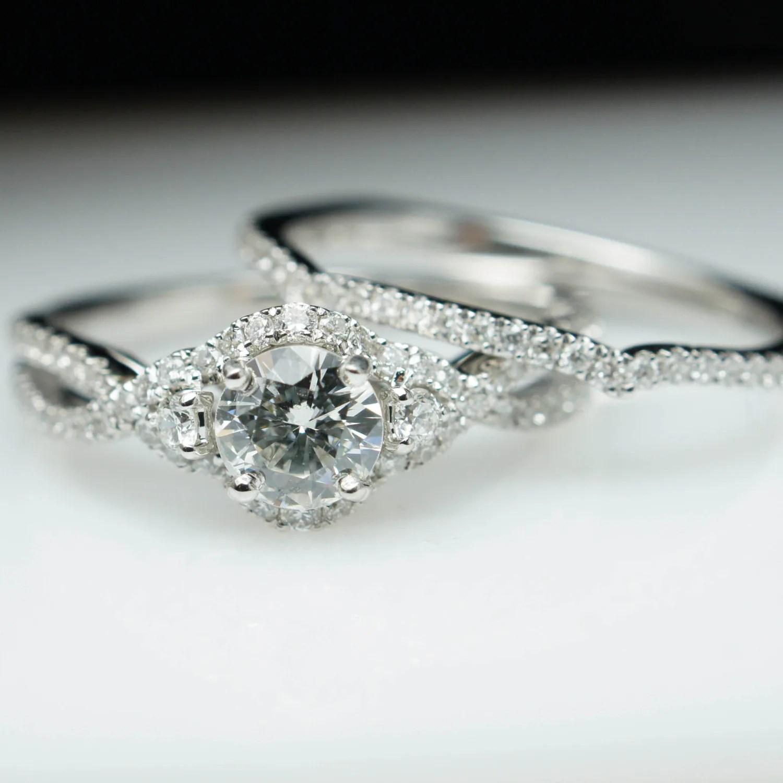 Diamond Halo Engagement Ring Wedding Band Complete Bridal Set