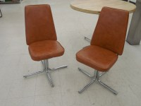 Bent chrome steel tube chairs Mid century modern chairs pair