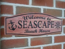 Beach House Outdoor Sign Personalized Wooden Carved