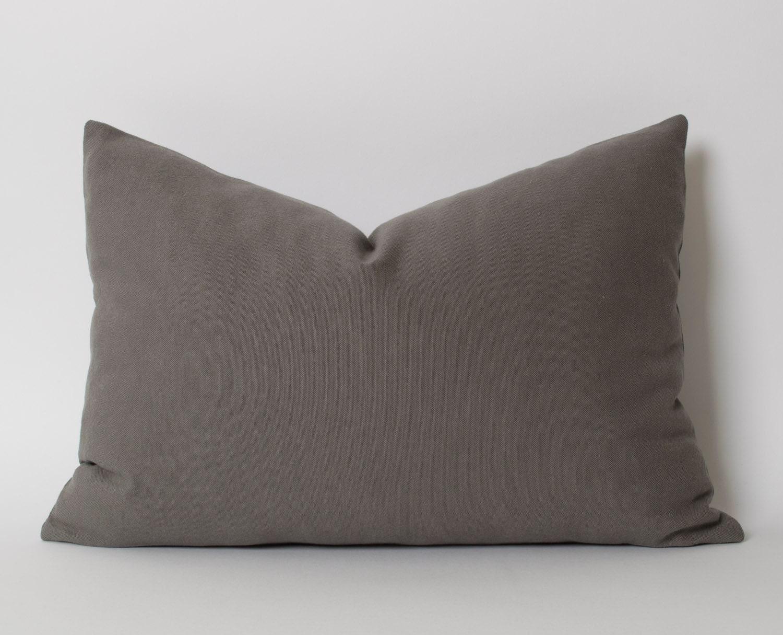 Gray Pillows Decorative Throw Pillow 12x18 inch Dark Gray