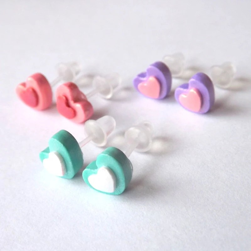 Heart Stud Earrings Hypoallergenic Plastic Posts for