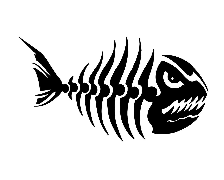 Fish Skeleton Decal Fishing Decal Outdoorsman Fish Sticker