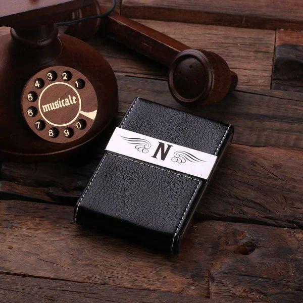 monogrammed leather business card holder