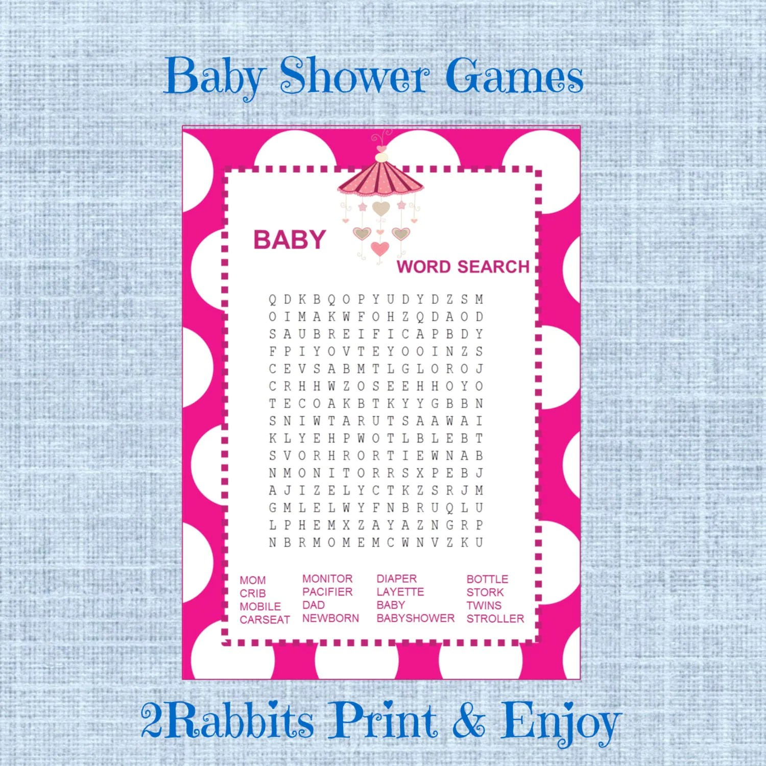 Baby Shower Word Search Game Girl Baby Shower Crossword Puzzle