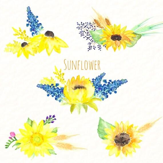 sunflower watercolour clip art