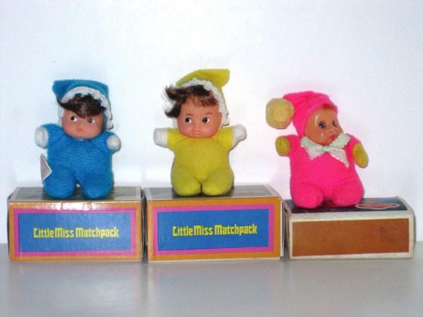 1970s Matchbox Doll Lot Of 3 Little Matchpack