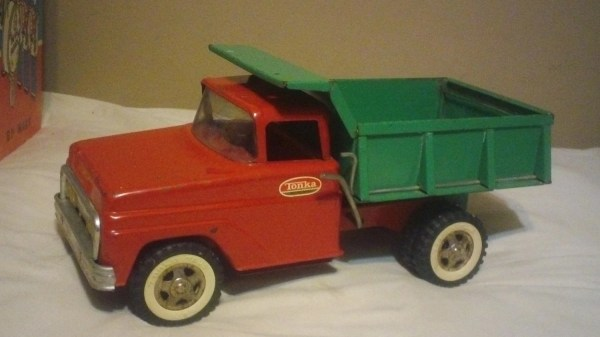 Vintage Metal Tonka Dump Truck Toy Red & Green Free Shipping
