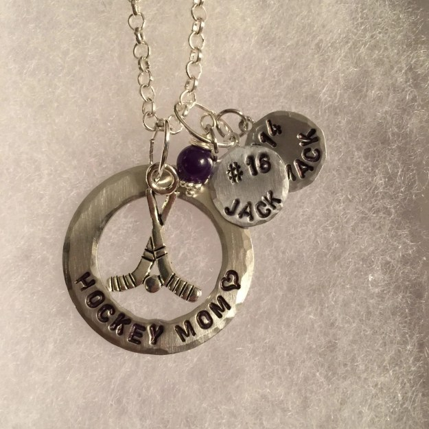 Personalized Hand Stamped Hockey Mom Necklace