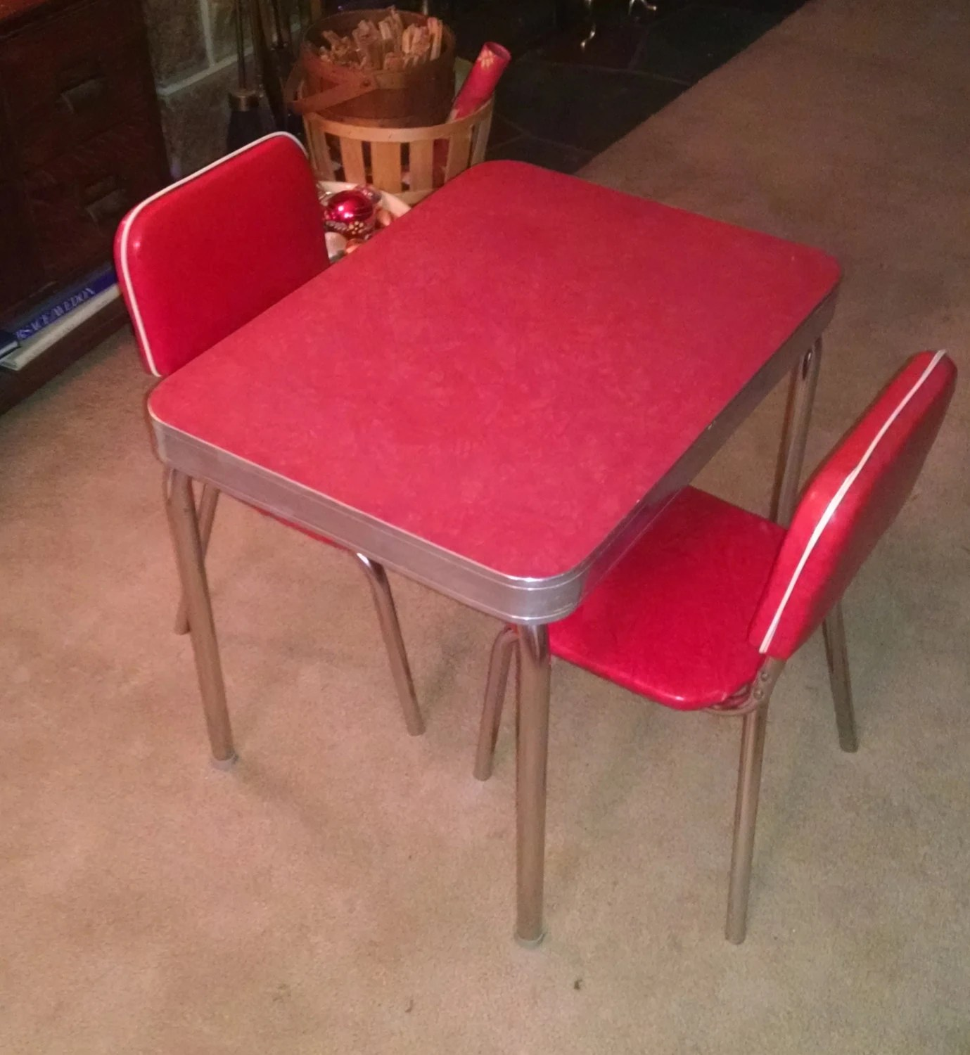 Formica Table And Chairs 1950 39s Child Size Retro Vintage Red Formica Kitchen Table