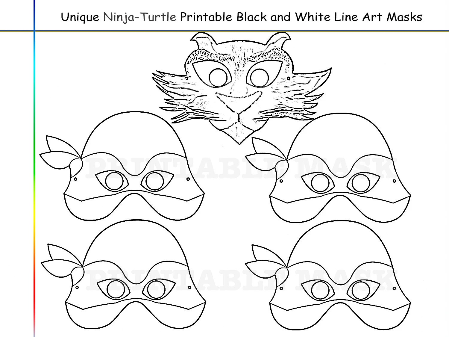 Coloring Pages Ninja-Turtles Party Printable Black and