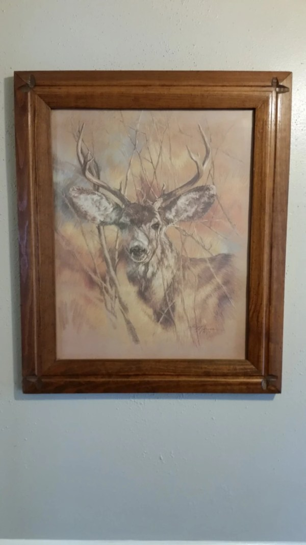 Silent Buck Homco Framed Deer Print Artist . Vintage