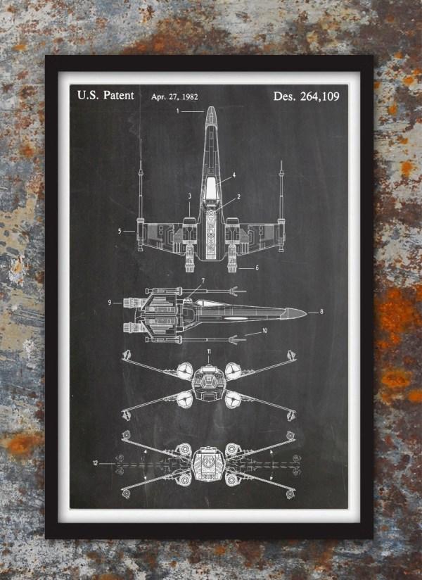 X-wing Fighter Star Wars Wall Patent Print Art