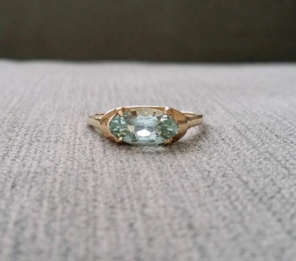Vintage Aquamarine Engagement Ring Yellow Gold Gemstone