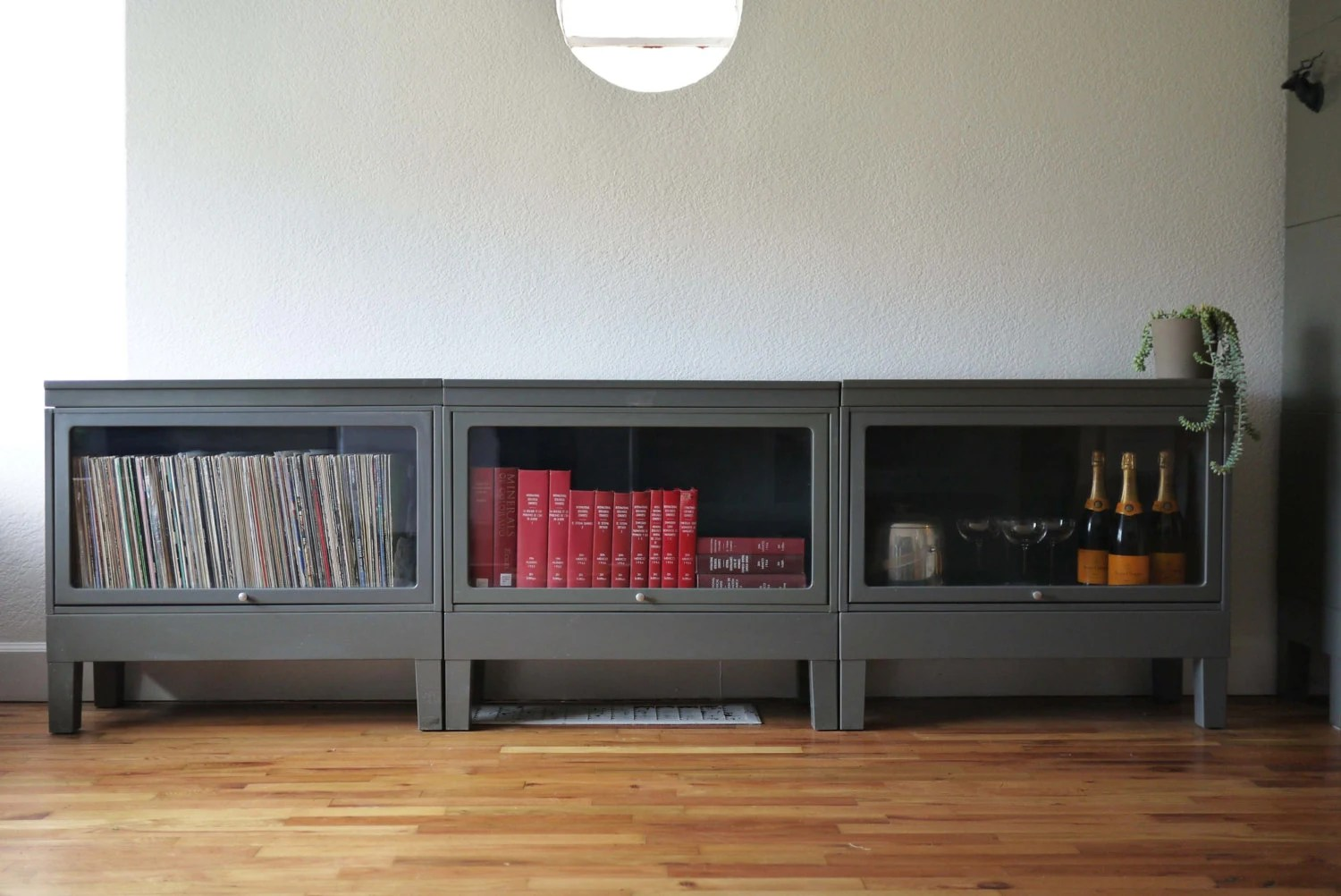 Low Console Vintage Metal Barrister Bookcase FREE SHIPPING