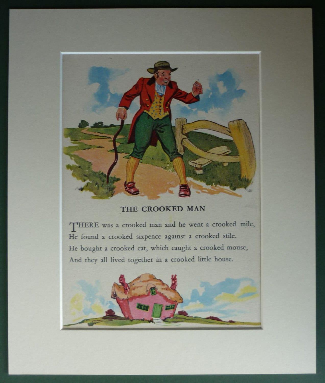 S Vintage Nursery Rhyme Print Of The Crooked Man