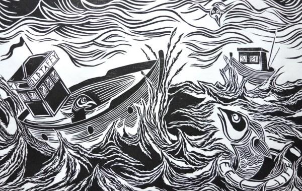 Great Rescue Of Fish Original Woodcut Print