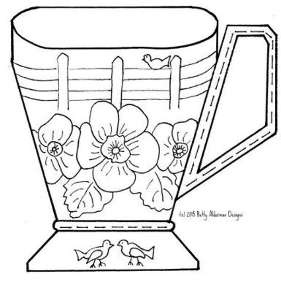 Redwork Bluework Hand Embroidery Pattern, Teacup, Coffee