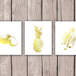 Pineapple Decorations For Kitchen Small Islands With Seating Home Decor Coconut Banana Print Gold Foil