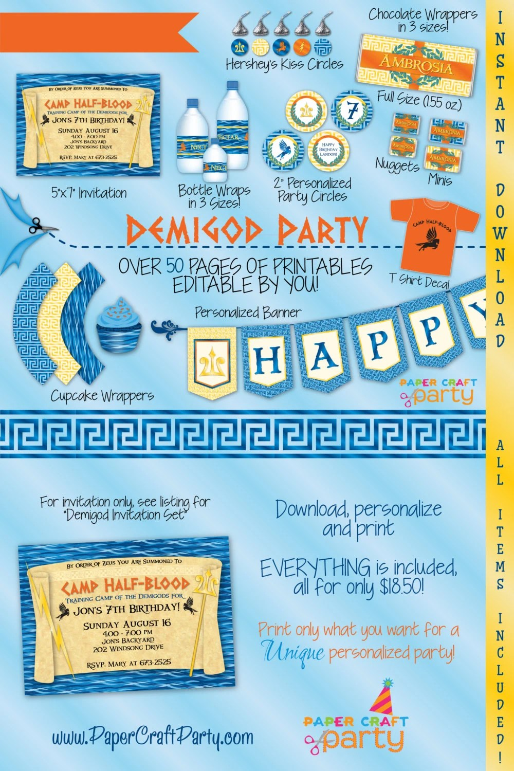 Demigod Printable Party Kit Demigod Invite & Decorations