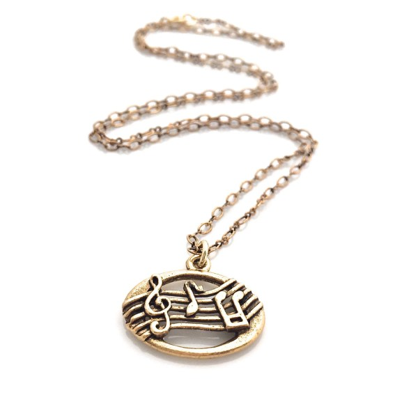 Music Necklace Treble Clef Eighth Note Gold Charm Urbanclink