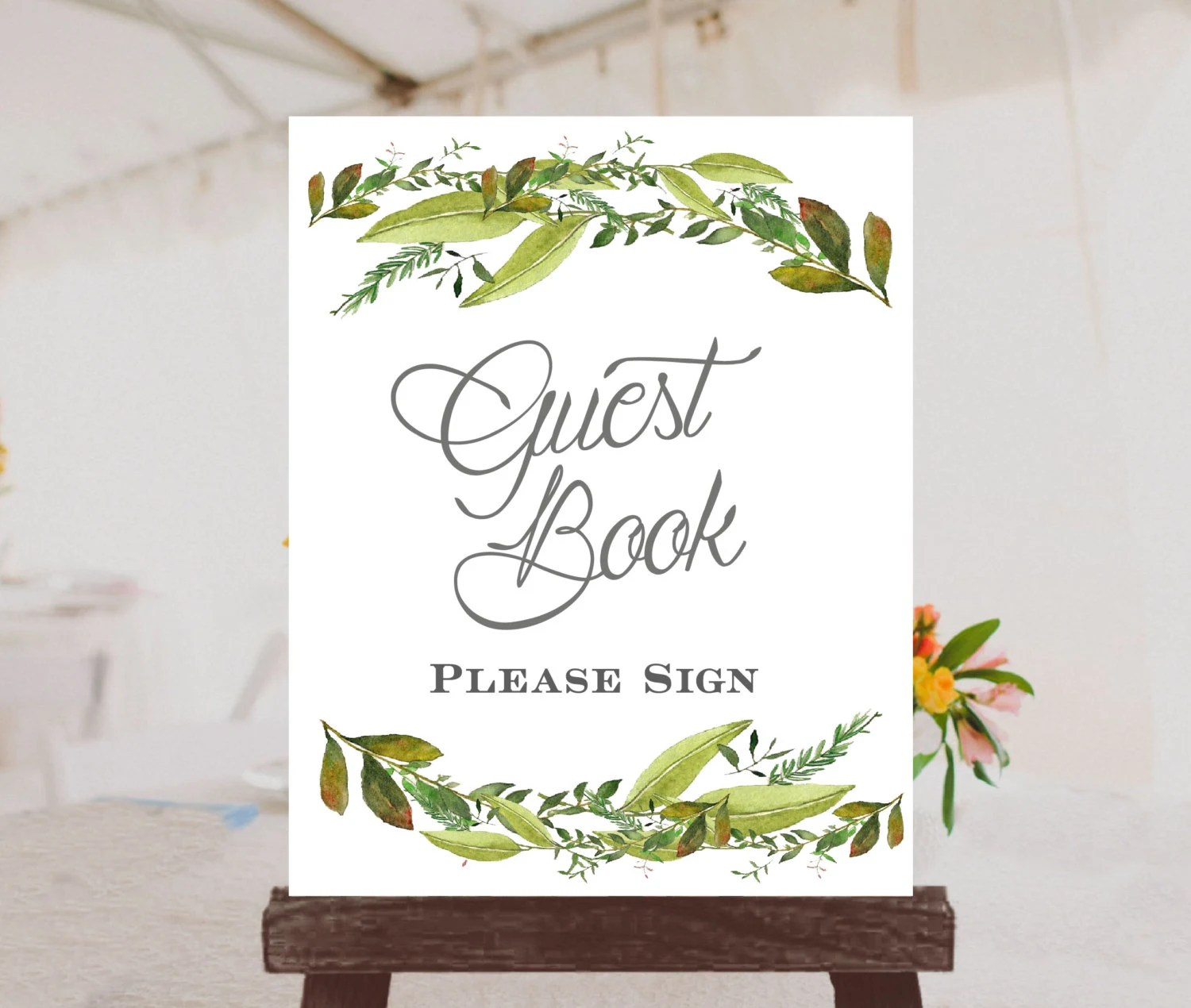 Wedding Guest Book Sign Printable Wedding Sign Leafy Sign