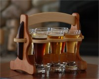 Wood Beer Flight Sampler Caddy Engraveable Handcrafted with 6