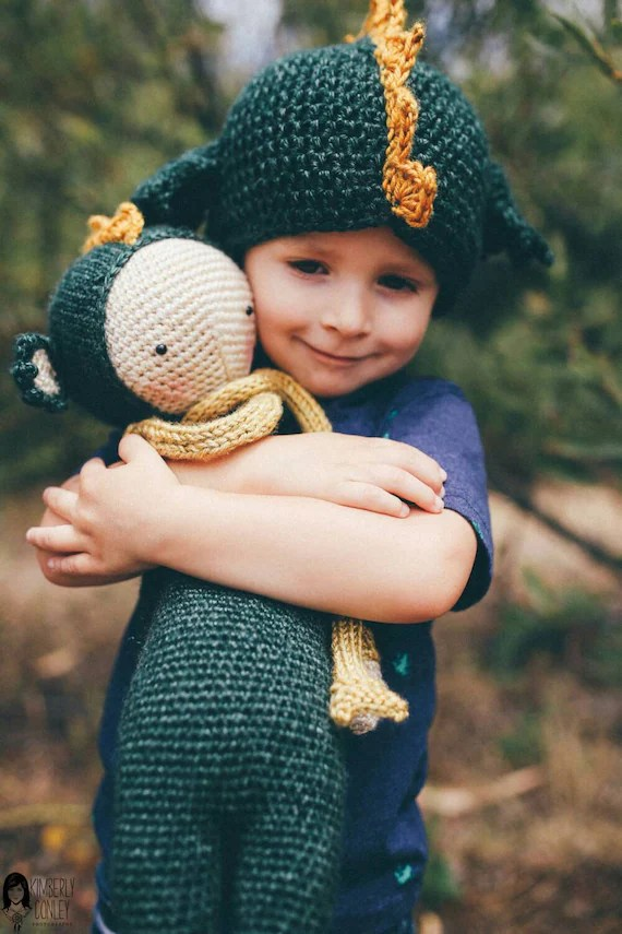 Dirk the Dragon Crochet Doll - Dragon Doll - Lalylala