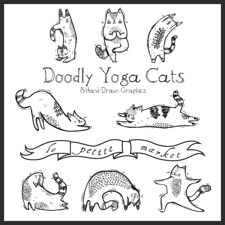 Hand Drawn Digital Yoga Cat Clipart Yoga Illustration Cute