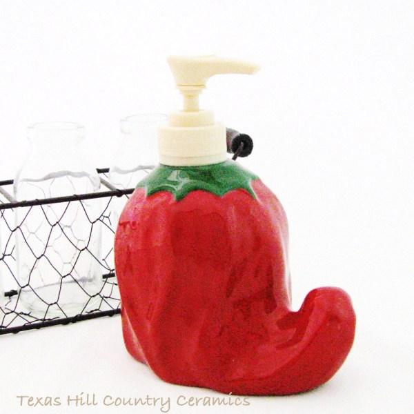 Red Chili Pepper Lotion Dispenser Liquid Soft Soap Pump Bottle