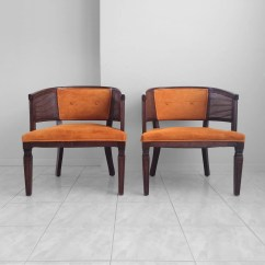 Mid Century Modern Cane Barrel Chairs Nserc Chair Design Engineering 2 French Neoclassical Back Accent