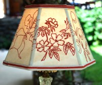 Lamp Shade Primitive Redwork Lampshade 5x10x7 Hex Clip
